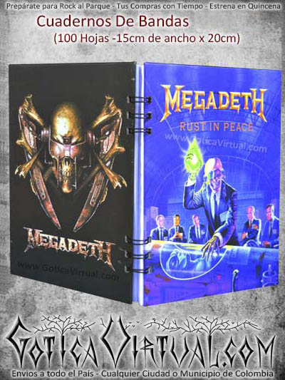 agenda cuaderno megadeth utiles escolares colombia bogota medellin envios todo el pais domicilios ventas por mayor y detal