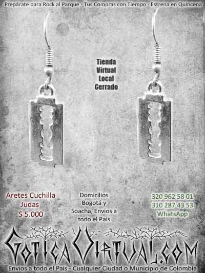 aretes cuchila bandas judas priest rock metal ventas online envios a todo el pais cali medellin sucre cucuta santander popayan rioacha manizales villavicencio colombia
