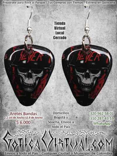 aretes slayer bandas metal thrash bogota ventas online envios a todo el pais cali medellin cucuta neiva sucre tilima manizales rioacha colombia