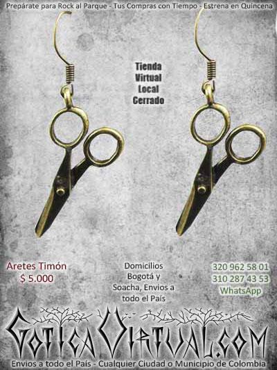 aretes tijeras rock metal boutique accesorios ventas online envios a todo el pais cali medellin manizales sucre cucuta santander rioacha valledupar colombia