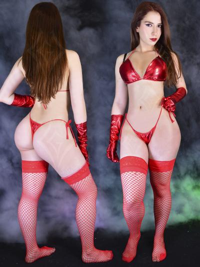 Bikini sintetico rojo brillante licrado fetish barato sexy sex shop lenceria