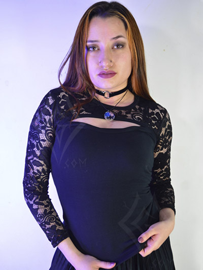 blusa blonda mangalarga encaje flores negras disenos hermosos femenina economica casual rock colombia bogota ipiales tunja ibague envios