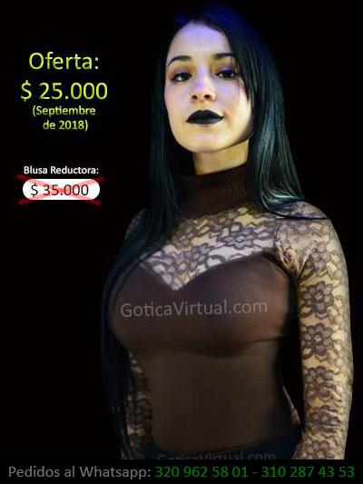 16526168115f blusa cafe reductora locrada economica blonda manga larga bonita promocion  oferta venta online domicilios bogota soacha