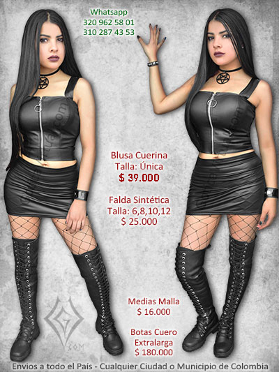 blusa cuerina cremallera aro centa online licrada corta sexy chica rock metal bogota caldas valle duitama bucaramanga colombia