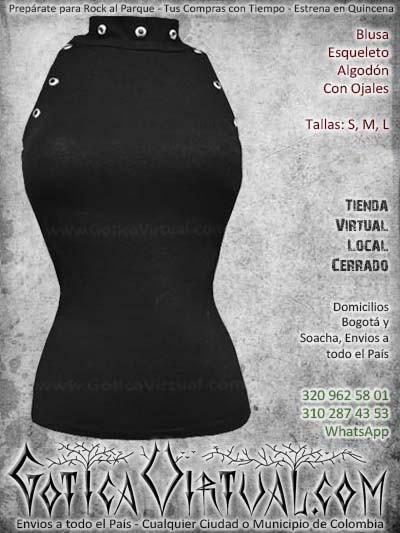 blusa esqueleto negro algodon ojales hermoso economico barato bogota mujer femenino ventas online envios todo el pais neiva cucuta narino manizales medellin cartagena itagui colombia