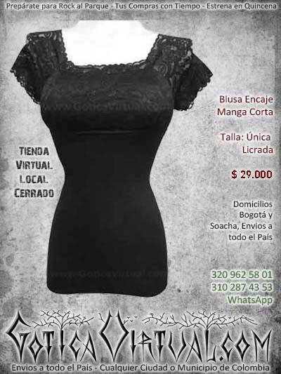 blusa manga corta encaje negra metalera rockera bogota hermosa bonita economica envios a todo el pais ventas online cali medellin cucuta manizales zipaquira colombia