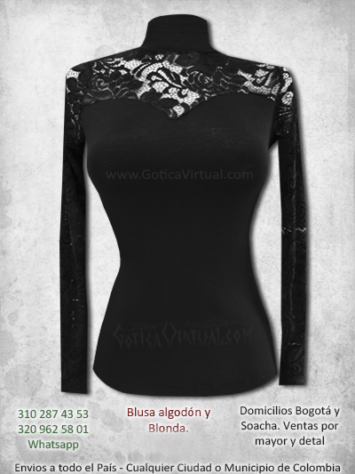 blusa algodon blonda pecho conmbinada venta online rock metal boutique chica bogota cali cuucta chia pereira colombia