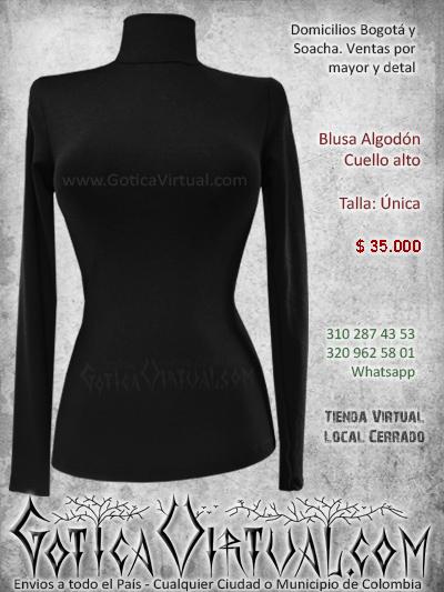 blusa algodon cuello alto sexy licada ajustada negra economica venta online rock metal bogota colombia
