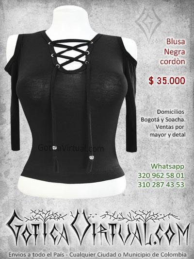 blusa algodon cordones pecho escote negra bonita economica tienda online rock metal bogota manizales sincelejo pasto cucuta colombia