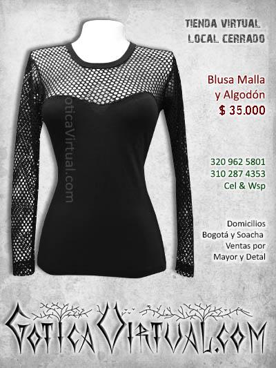 blusa algodon y mala bonita sexy negra rockera metalera bogota gotica virtual tienda venta economica bonita bogota colombia