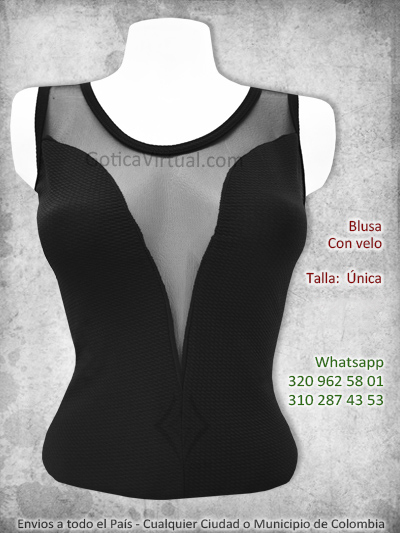 blusa negra velo V escote bonita economica sencilla sexy bogota yopal manizales sincelejo cucuta pereira monteria colombia