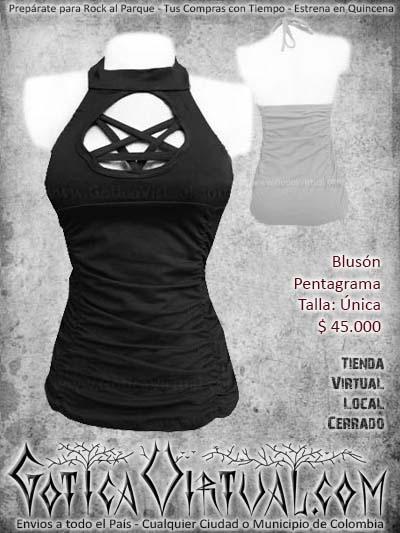 blusa pentagrama negra algodon metalera rockera mujer femenina economica bogota ventas online envios todo el pais cali medellin cucuta narino manizales colombia