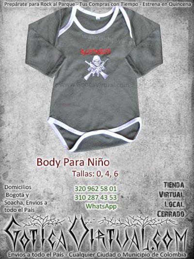 Body bebe gris oscuro algodon iron maiden babys envios Bogota colombia Medellin Cali Pereira Manizales Cucuta