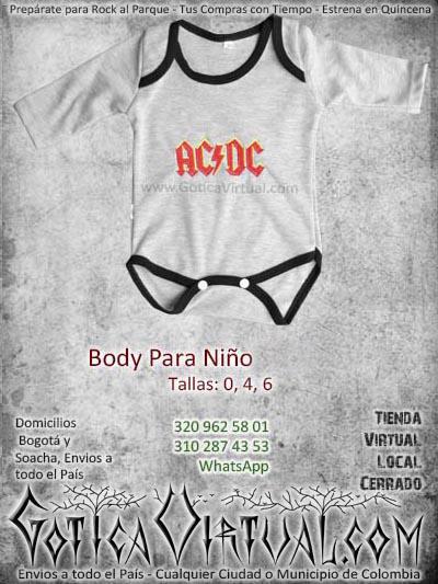 Bodi bebe rockeros gris con negro mameluco algodon AC DC envios medellin cali manizales pereira ventas por mayor