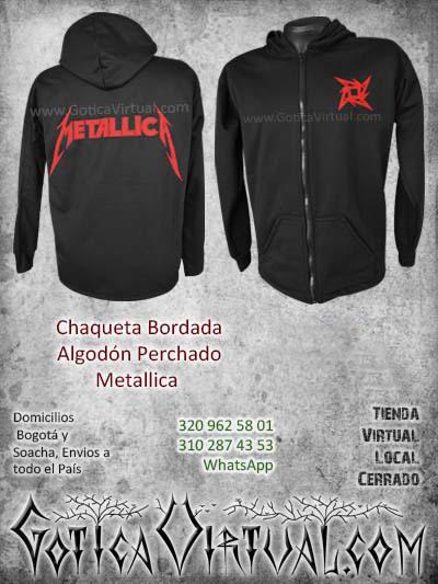 bordado algodon perchado chaqueta negro metallica domicilios colombia bogota cali medellin cucuta soacha santander