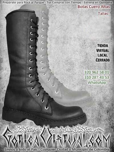 botas altas rockeras metaleras negras cuero bogota ventas online envios todo el pais bodega cali medellin cucuta narino neiva villavicencio colombia