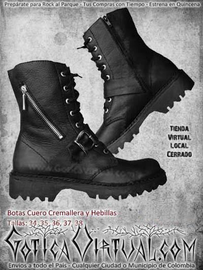 botas cortas cremallera negras hebillas metaleras rockeras ventas online envios todo el pais bodega manizales neiva tunja barranquilla colombia
