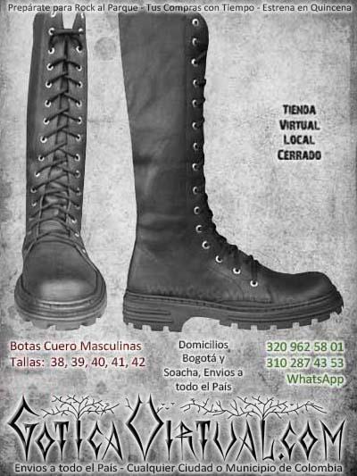 botas cuero metaleras rockeras thrash masculinas hombre ventas online envios cali medellin cucuta narino colombia