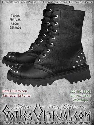 botas taches negras cuero rockeras metaleras inisex baratas economicas bogota envios todo el pais ventas online cali medellin cucuta narino neiva manizales colombia