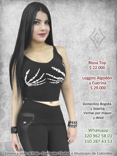 8c4624902 Blusa estanpada con manos de huesos en el pecho. blusa leggins lame  pantalon economico ventas colombia medellin manizales pereira risaralda