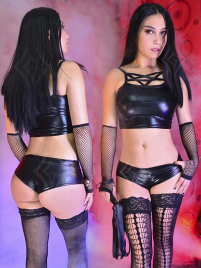 Sexy Cachetero sintetico top latex pvc cuerina lame imitacion cuero stresh