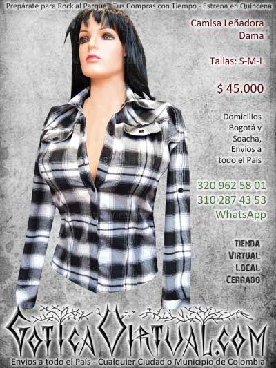 camisa lenadora dama tallas s m l cuadros blanco negro dama mujer chica botones tela medellin cali manizales pereira pasto bucaramanga