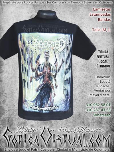 camiseta aborted bandas rock al parque venta online envios colombia