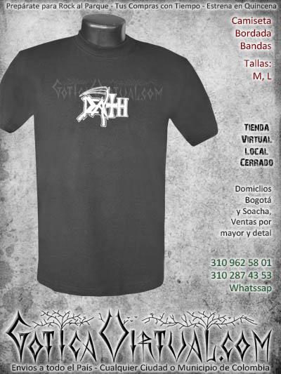 camiseta death  hombre bordada negra venta online domicilios bogota envios colombia