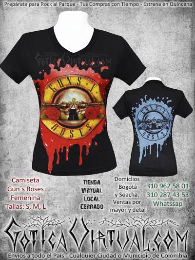 camiseta guns n roses estampada femenina venta online envios colombia domicilios soacha medellin cucuta pasto santander manizales