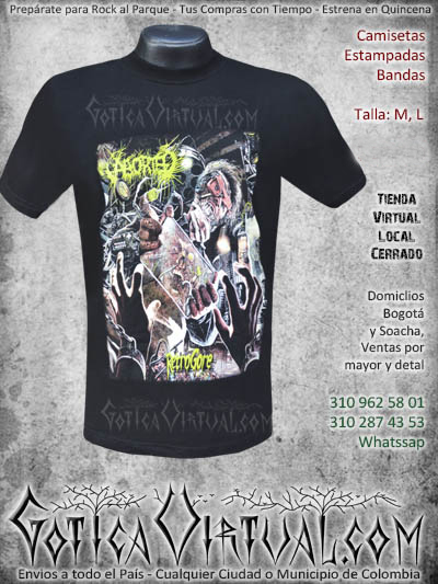 camiseta estampada aborted rock al parque envios armenia tunja pereira la calera colombia