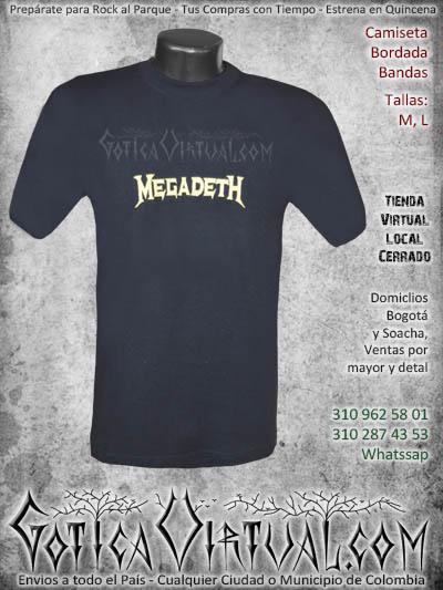 camiseta megadeth hombre bordada negra venta online domicilios bogota envios colombia