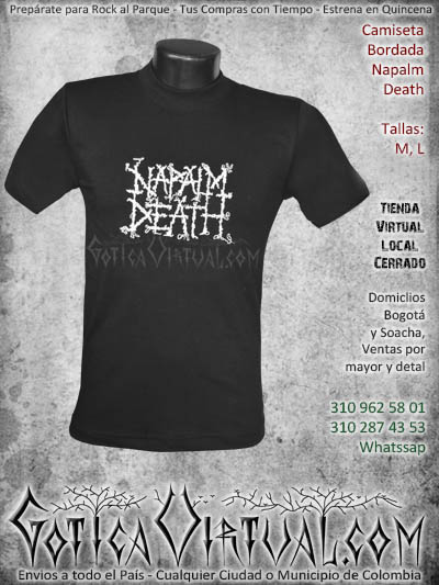 camiseta napalt death hombre bordada negra venta online domicilios bogota envios colombia
