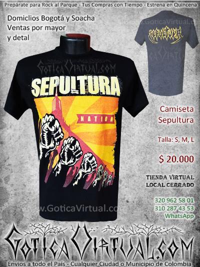camiseta sepultura bandas rock al parque venta online domicilios bogota y soacha envios colombia