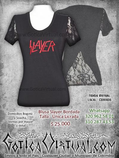 camiseta slayer femenina tienda online rock metal bogota cucuta neiva pasto huila quindio sucre bolivar colombia