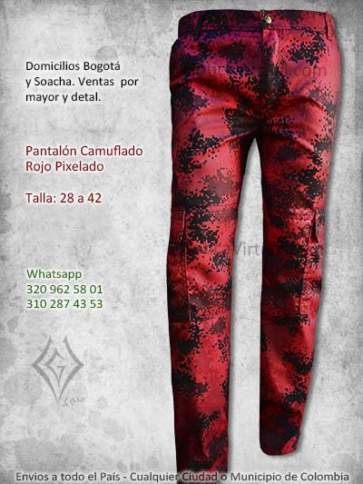 pantalon camuflado rojo pixelado economico masculino venta online domicilios bogota tunja chia cali pereira medellin sucre colombia