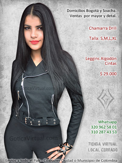 chamarra drill femenina tienda online rock metal economica negra bogota yopal caldas armenia valledupar monteria sincelejo colombia