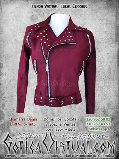 chaqueta vinotinto tipo chamarra tallas s m l tienda online gotica virtual envios bogota soacha medellin cali manizales pereira armenia colombia mayorista