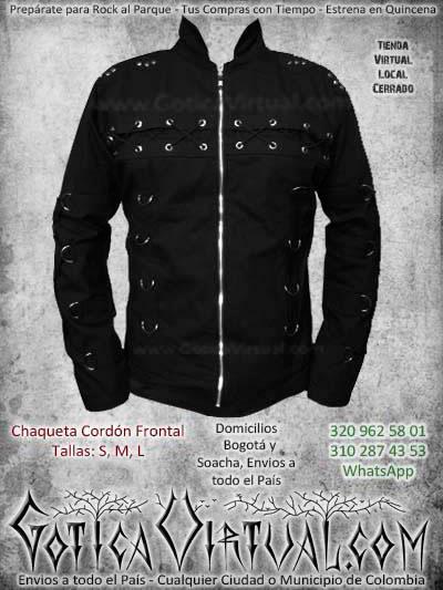 chaqueta cordon frontal negra bogota masculina hombre barata economica metalera rockera ventas online envios a todo el pais medellin bucaramanga neiva manizales tunja colombia