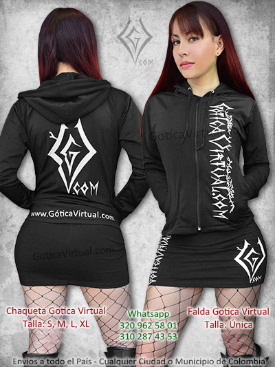 chaqueta gotica virtual negra lagodon perchado falda corta economica venta online marca bogota colombia