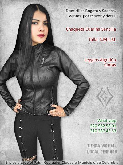 chaqueta cuerina negra tienda online sencilla femenina pasto valledupar tunja leticia manizales quindio villavicencio zipaquira colombia