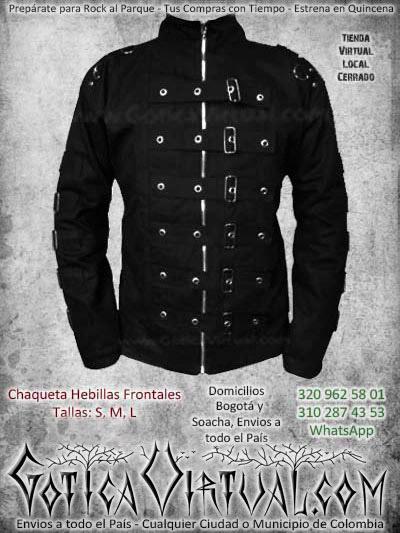chaqueta hebillas frontales negra masculina hombre bogotarockera metalera ventas online envios a todo el pais medellin cucuta neiva cartago ibague cauca colombia