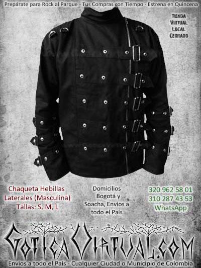 chaqueta hebillas laterales negra metalera rockera bodega ventas online bodega envios a todo el pais medellin quibdo rioacha colombia