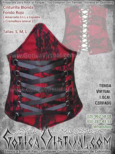 Cinturilla blonda velo rojo negro mujer femenina rockera metalera bogota envios todo el pais ventas online bodega medellin cucuta narino manizzales colombia