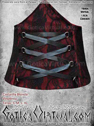 cinturilla vinotinto blonda gotica metalera dark envios todo el pais cali medellin cucuta narino neiva villavicencio colombia
