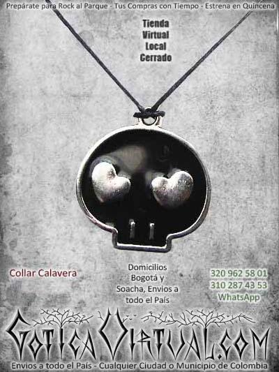 collar calavera negra rock metal accesorios ventas online envios a todo el pais cali cucuta sucre tolima santander huila mocoa sincelejo colombia