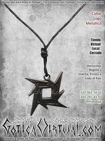 collar logo metallica accesorios metal rock ventas online envios a todo el pais cali medellin manizales cauca sogamozo neiva tulua sincelejo popayan colombia