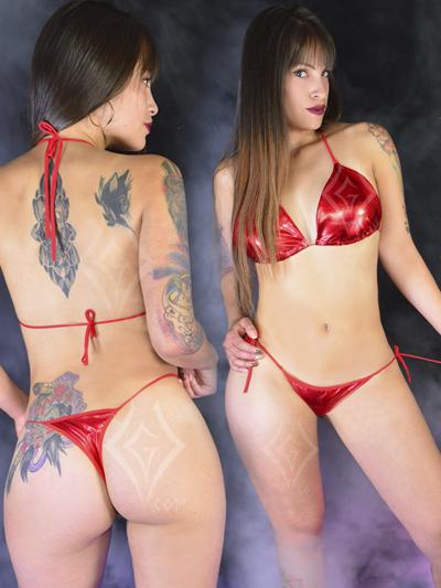 Sexy conjunto sintetico rojo licrado