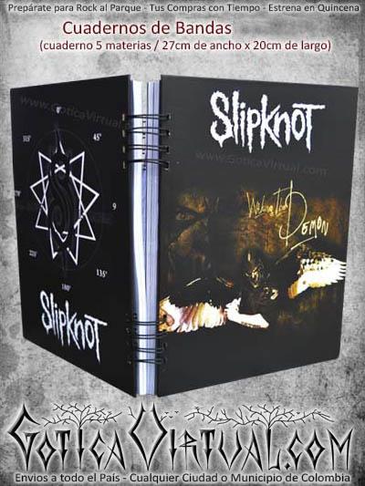 cuaderno agenda banda negro slipknot rock escolar domicilios bogota cali medellin colombia manizales cucuta