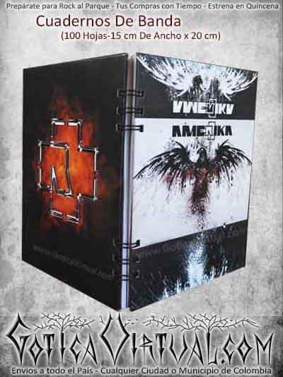 cuaderno rammstein bandas rock metal economico barato ventas online envios a todo el pais medellin cauca narino pereira sucre sincelejo manizales mocoa colombia
