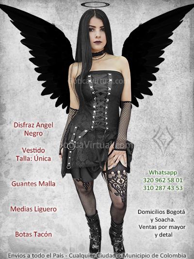 disfraz angel negro bonito economico venta online vestido guantes medias bogota chia santander tunja huila villeta colombia